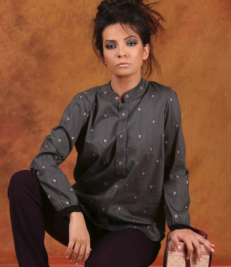 Bluza din bumbac elastic cu aplicatie de cristale Swarovski