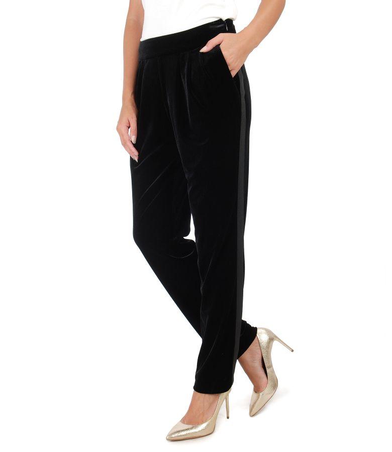 Pantaloni din catifea elastica cu buzunare laterale