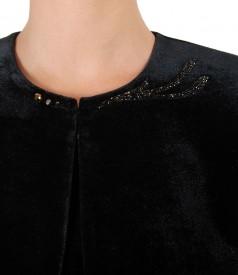 Bolero din catifea elastica cu aplicatie de cristale