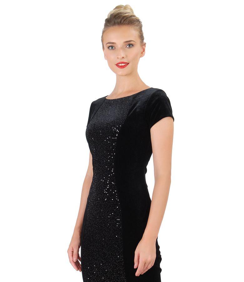 Rochie midi din catifea elastica cu insertie cu paiete