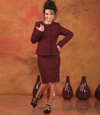 Costum office dama cu sacou si fusta din stofa din bucle multi-color