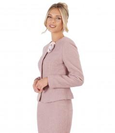 Costum office dama cu sacou si fusta din bucle cu lana si alpaca