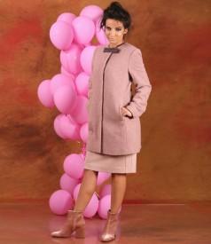 Jacheta din bucle cu lana si aplaca si rochie eleganta