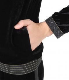 Hanorac din catifea elastica neagra