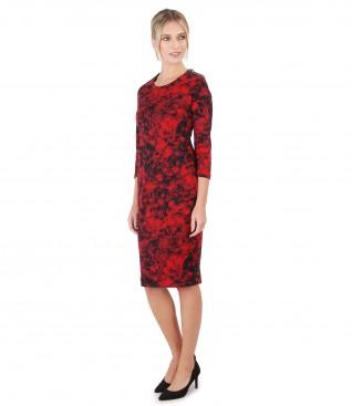 Rochie eleganta din jerse imprimat cu motive florale