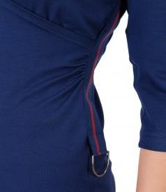 Bluza din jerse uni cu banda de rips pe lateral