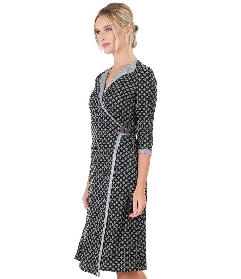 Rochie din jerse elastic imprimat cu motive geometrice