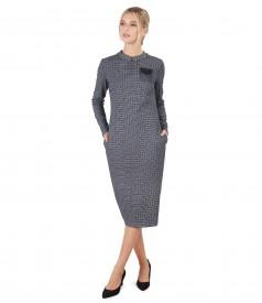 Rochie eleganta din stofa cu vascoza