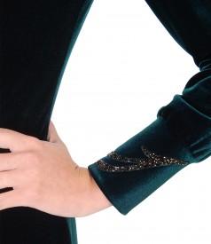 Rochie de seara din catifea cu aplicatie de cristale pe mansete