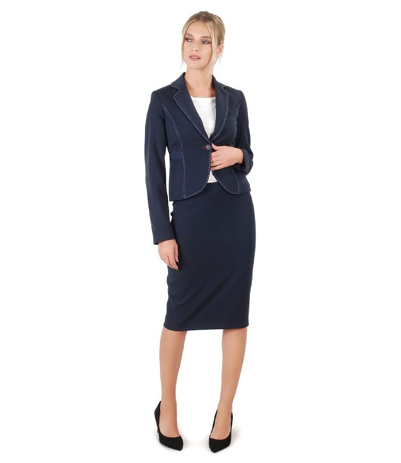 Costum office dama cu sacou si fusta din stofa cu vascoza