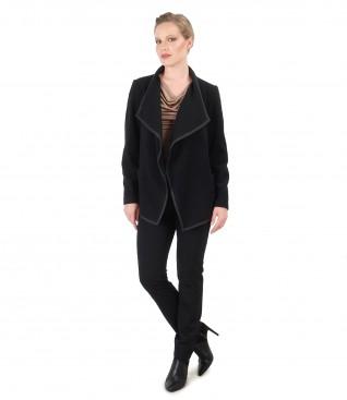Tinuta eleganta cu jacheta din lana si casmir si pantaloni pana