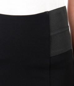 Fusta creion din jerse elastic gros cu garnitura elastica