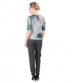 Pantaloni pana si bluza din jerse imprimat cu motive floarale