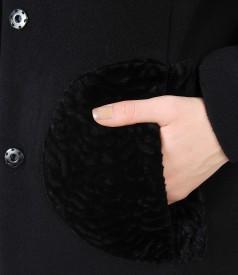 Jacheta din lana virgina si casmir dublata cu saten imprimat