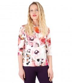 Bluza din jerse imprimat cu motive florale