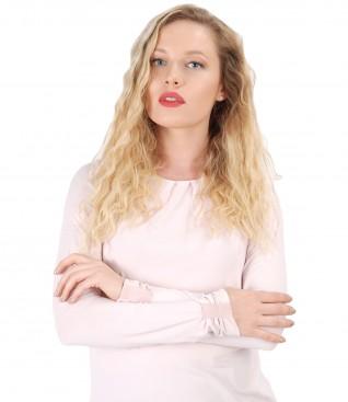 Bluza eleganta din jerse elastic cu maneci lungi