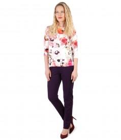 Bluza din jerse imprimat cu flori si pantaloni pana