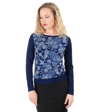 Bluza eleganta din jerse elastic imprimat in relief