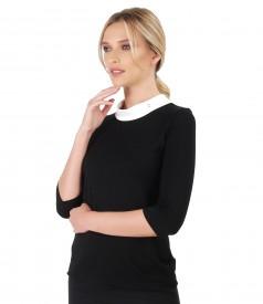 Bluza din jerse elastic cu maneci 3/4 si aplicatie de cristale