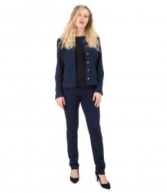 Costum office dama cu sacou si pantaloni din jerse elastic gros