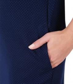 Rochie midi din jerse gros imprimat cu picouri