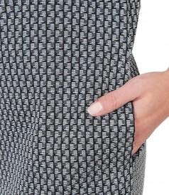 Rochie din jerse elastic gros cu guler si buzunare
