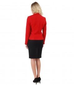 Costum office dama cu sacou si fusta din bucle din lana cu alpaca