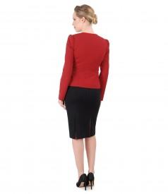 Costum office dama cu sacou si fusta din jerse elastic gros
