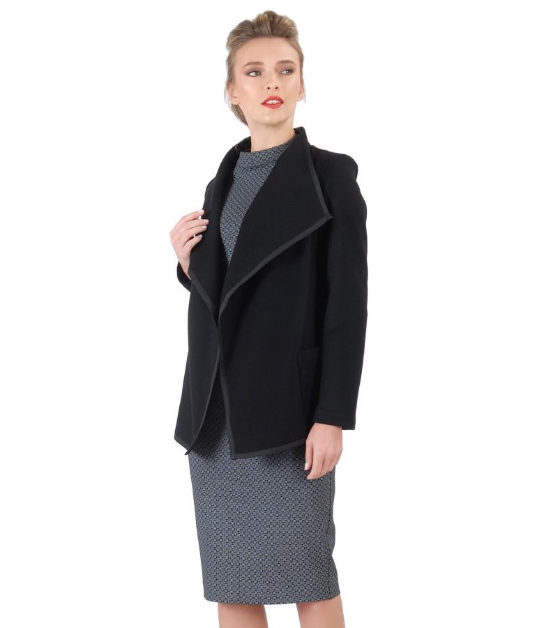Rochie din jerse elastic gros cu jacheta din lana si casmir