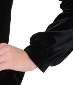 Sacou din catifea elastica neagra