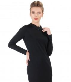 Rochie midi din jerse elastic cu maneci lungi