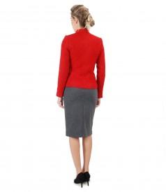 Tinuta office cu rochie din jerse elastic gros si sacou din bucle