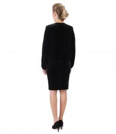 Rochie si sacou din catifea elastica neagra