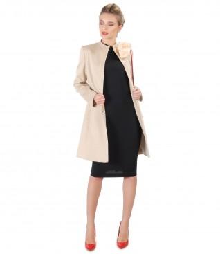 Jacheta cu lana si bumbac si rochie midi cu guler gen tunica