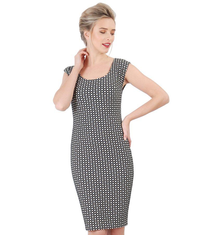 Rochie din brocart de bumbac cu aplicatie de perle
