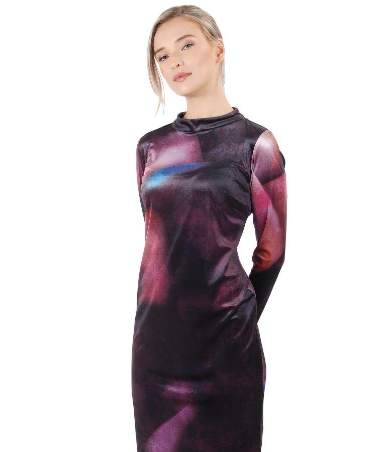Rochie midi din catifea imprimata