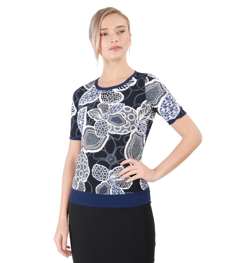 Bluza din jerse elastic imprimat in relief