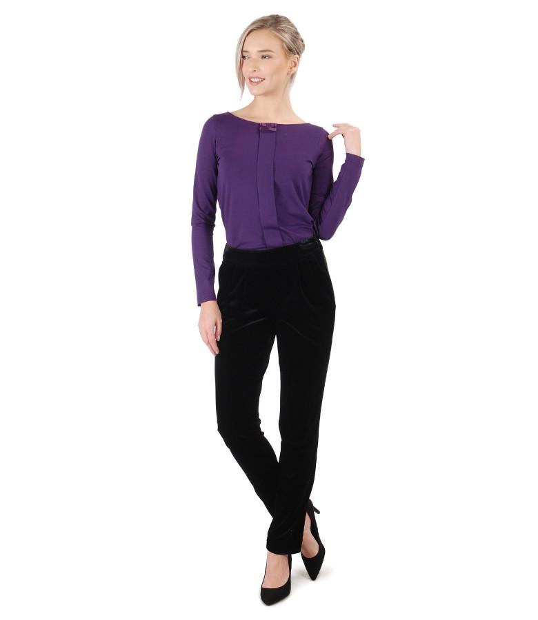 Bluza cu maneci lungi din jerse elastic si pantaloni din catifea