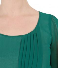 Rochie de seara din voal si aplicatie de cristale pe cordon