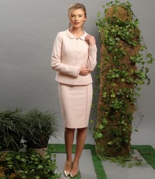 Costum office dama cu sacou si fusta cu garnitura din voal