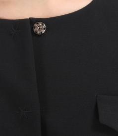 Sacou office negru din stofa elastica cu clape si buzunare