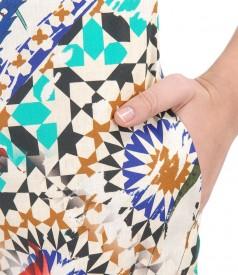 Rochie din bumbac imprimat cu buzunare