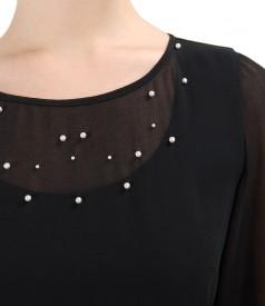 Rochie de seara din voal cu aplicatie de perle