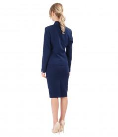 Costum office dama cu sacou si fusta din stofa elastica bleumarin