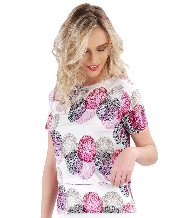 Bluza din jerse imprimat cu funda din rips