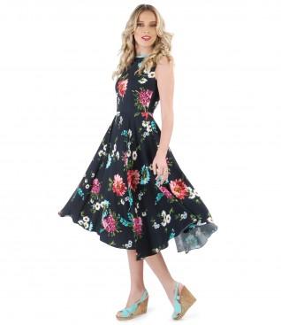 Rochie din vascoza imprimata cu motive florale