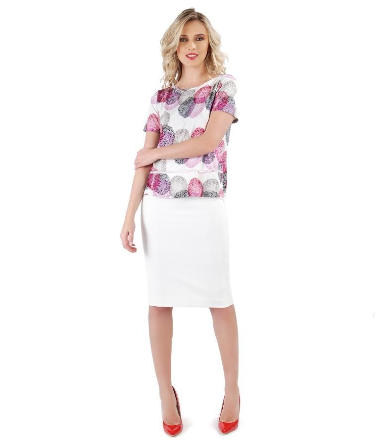 Tinuta eleganta cu bluza din jerse imprimat si fundita si fusta creion