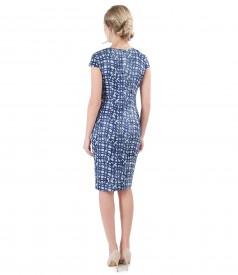 Rochie din jerse elastic brocat cu motive geometrice