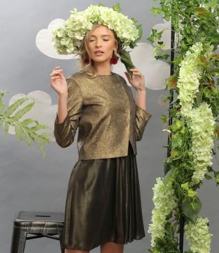 Tinuta de ocazie cu sacou din bumbac elastic si rochie din voal sidefat