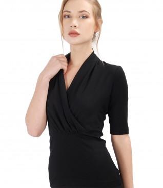 Bluza din jerse elastic cu guler suprapus din voal